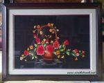 Tranh thêu tay-giỏ hoa-t169