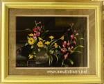 Tranh thêu tay-khóm hoa cúc hoa lan-t170