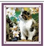Mẫu thêu chữ thập-mèo con-ya225