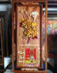 Tranh đốc lịch gỗ nghệ thuật, Hoa cúc Vàng -TG179