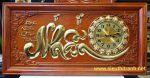 Tranh gỗ hương đỏ đồng hồ chữ NHẪN-TG281