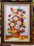 Tĩnh vật bình hoa hồng-Tranh vẽ sơn dầu-tv27