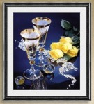 Tranh thêu chữ thập-ly rượu tình yêu-ya241