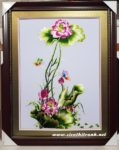 Tranh thêu tay, hoa sen-T248