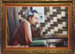 Bác Hồ nghe điện thoại tại Việt Bắc, tranh in dầu -IN079