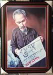 Tranh bác Hồ ngồi đọc báo trên Pác Bó – kts10