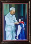 Bác Hồ quàng khăn cho thiếu nhi (tranh in dầu -IN32)