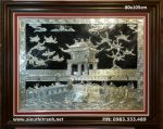 Tranh đồng mạ Bạc ,Khuê văn các -A169