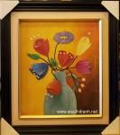 Tranh sơn dầu-tĩnh vật hoa khoe sắc-s27