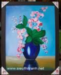 Tranh sơn dầu-bình hoa Lan-s180