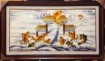 Tranh đắp phù điêu sơn mài, Cá chép vượt vũ môn – SM249