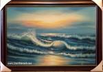 Tranh sơn dầu biển hoàng hôn- s193