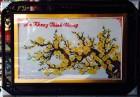 Cành Mai khoe sắc-tranh thêu chữ thập