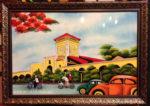 Tranh sơn mài, Chợ Bến Thành – SM255