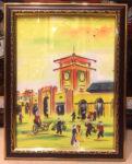 Chợ Bến Thành ( tranh in lụa cao cấp -L04 )