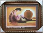 Tranh vẽ cô gái ngồi bên chum- S128