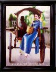 Tranh sơn dầu cô gái ngồi xe bò – S218