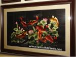 Tranh thêu tay-Cửu ngư quần hội-t165