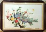 Tranh thêu tay, Đôi chim công -T345