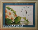 Tranh thêu tay chữ thập-hoa hướng dương đồng hồ-ct62