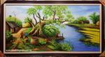 Tranh sơn dầu vẽ kỹ ,Đồng Quê -S244