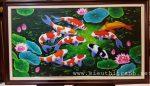 Tranh sơn dầu ,cá chép hoa sen- S217