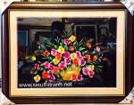 Tranh thêu tay: Giỏ hoa T078