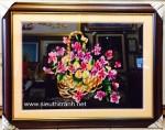 Tranh thêu tay:Giỏ hoa T069