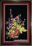 Tranh thêu tay-giỏ hoa T073