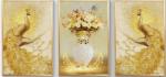 Tranh bộ 3 bức phú quý vinh hoa- IN067