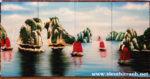 Tranh sơn mài ghép bộ 4 tấm, Ha Long Bay – SM252