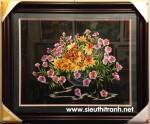 Tranh thêu tay, giỏ hoa T023