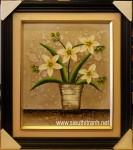Bình hoa lan khoe sắc-tranh sơn dầu-s121