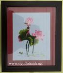 Tranh thêu tay ,hoa sen -T296