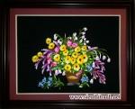 Tranh thêu tay,Giỏ hoa T071