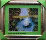 """Hồ thiên nga """"tranh thêu tay -t241"""""""