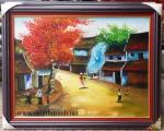 Tranh sơn dầu, phố cổ- S078