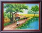 Tranh sơn dầu, làng quê việt -S084