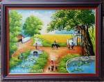 Tranh sơn dầu ,đồng quê cây đa cổng làng-S107