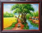 Tranh sơn dầu ,cánh đồng quê vào mùa- S013