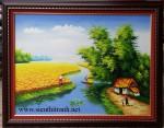 Tranh sơn dầu ,làng quê-S068