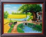 Tranh sơn dầu ,cổng làng-S065