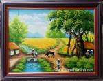 Tranh sơn dầu ,làng quê -S069