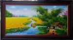 Tranh sơn dầu,sau lũy tre làng- S201