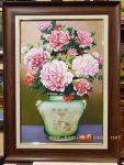 Tranh sơn dầu-Bình hoa hồng-s093