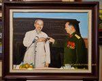 Tranh vẽ sơn dầu – Bác Hồ & Đại tướng Võ Nguyên Giáp – S270
