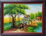 Tranh sơn dầu ,cây đa cổng làng-S043