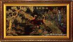 Tranh sơn mài dát vàng đắp nổi Chim Công – SM297