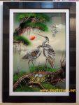 Tranh vẽ sơn mài khảm trai – Đôi uyên ương- SM163