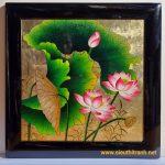 Tranh đắp hoa sen sơn mài-sm165